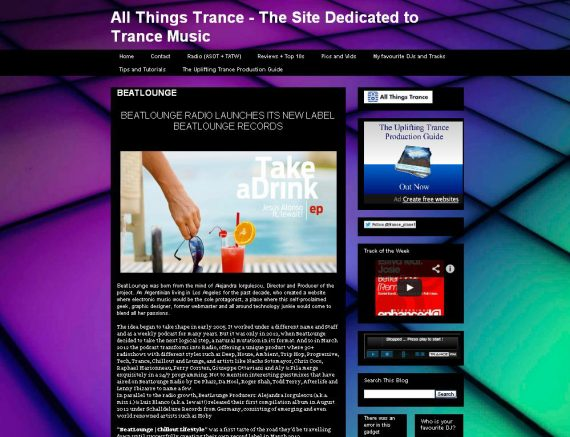Beatlounge featured on All Things Trance